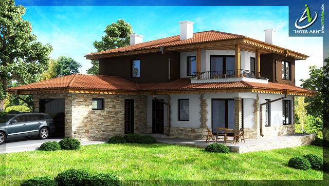 """Проект на двуетажна еднофамилна къща в ЖК """"Изгрев"""" – гр.Варна."""