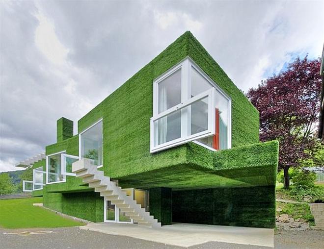 Погледната отстрани, сградата дори прилича на странно дърво с кадифено мека зелена корона.