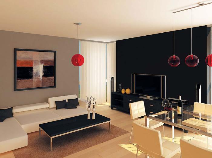 Кътът с мека мебел е предвиден да кореспондира цветово с белите столове край масата