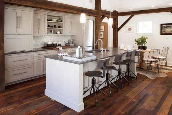 Интериор на кухня с ретро, Дзен и минималистични елементи