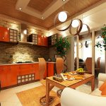 Интериорен дизайн на кухня. Облицовка с декоративен камък на стената в кухнята.