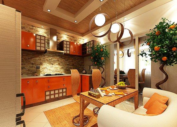 Облицовка с декоративен камък на стената в кухнята