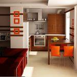 Кухня в земни цветове и ярки оранжеви акценти