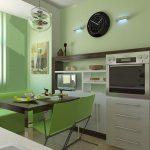 Кухня в зелено с кът за хранене
