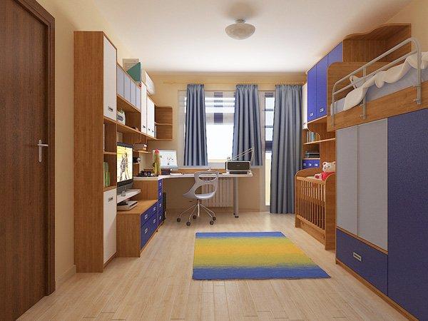 Различни нюанси на синьо и естествено дърво оформят цветовата концепция на стаята