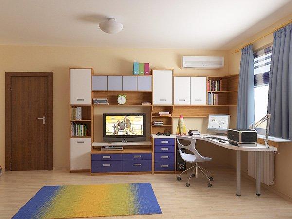 Ъглов модул включва TV-кът и работно място с бюро