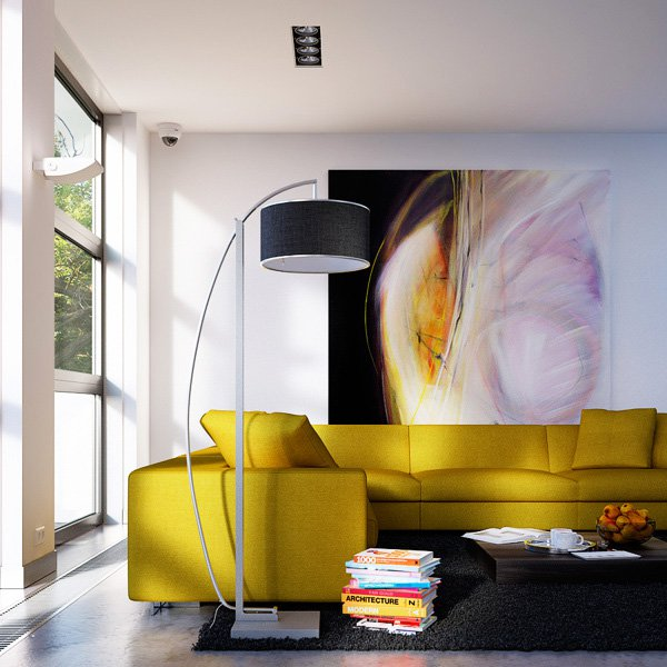Меката мебел е в слънчево жъл цвят