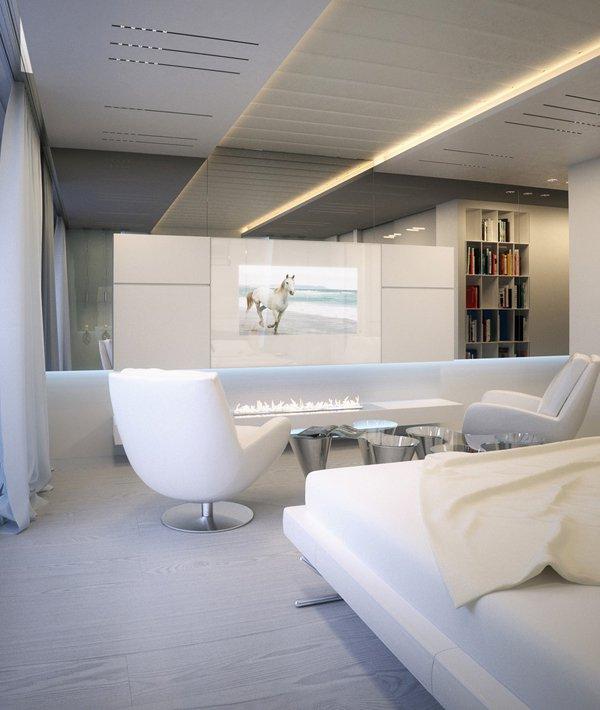 Камина на биоетанол е основният декоративен акцент в бялата спалня
