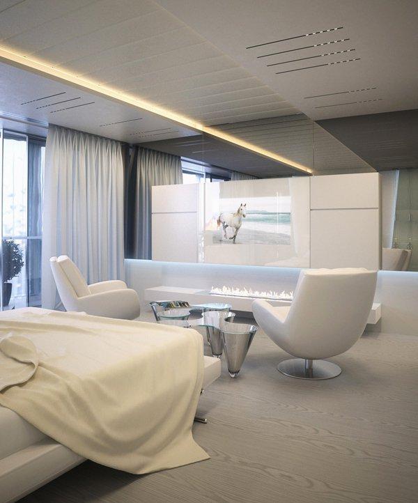 Окаченият таван е със скрито осветление, създаващо атмосфера на интимност