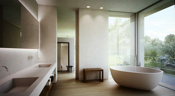 Камък, дърво и минималистично обзавеждане в банята