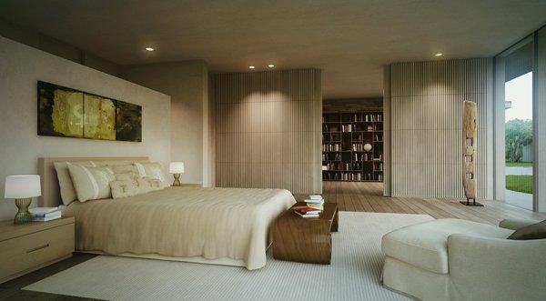 Спалнята е в пастелни тонове и изглед към двора
