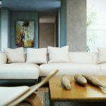 Маката мебел в къта за отдих е с модерен дизайн и бяла тапицерия