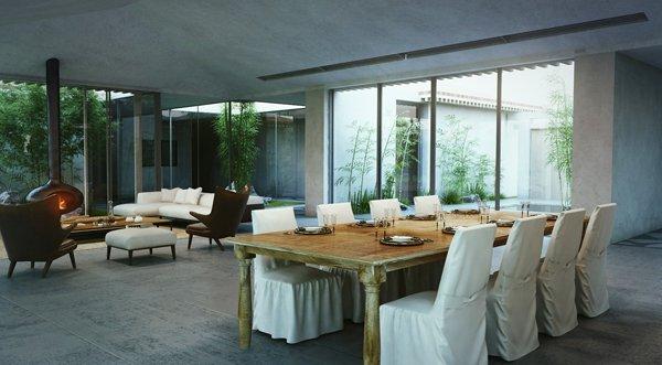 Трапезарията е с голяма дървена маса в рустикален стил