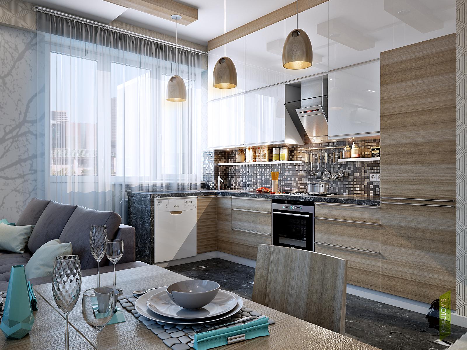 Кухнята е решена в бяло и светло дърво