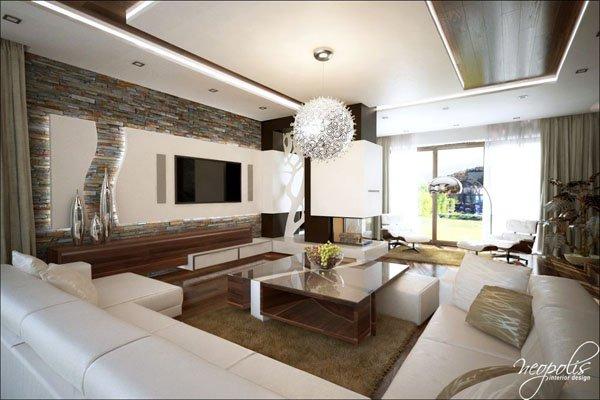 Дневната зона е обзаведена с ъглова бяла кожена мебел