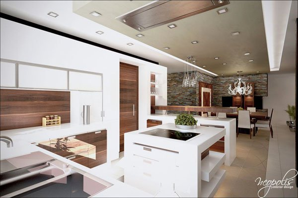 Кухнята е решена в бяло и цвят на натурално дърво