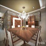 Дървеното пано на стената повтаря дизайна на масата