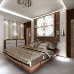 Окаченият таван е с правоъгълна форма и вградени лунички