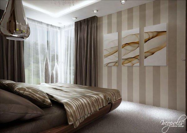 Декоративни пана с флорални мотиви украсяват спалнята