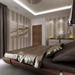 Основният цвят в спалнята е топло шоколадово кафяво