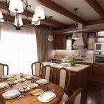 Кухнята е с вградени уреди и прилежащ остров