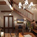 Дървено стълбище отвежда до второто ниво