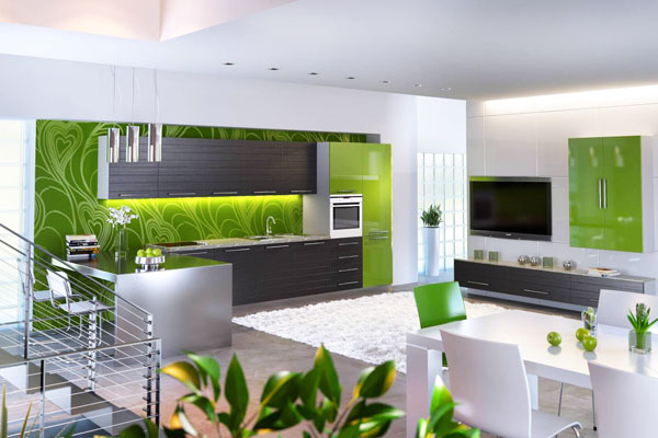 Кухня със зелен гръб