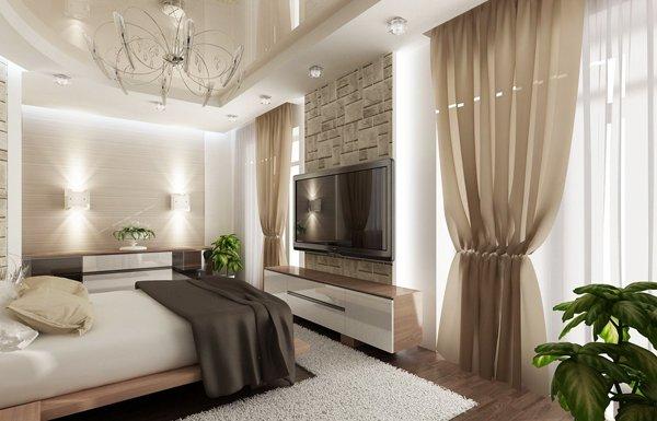Спалнята е решена в пастелни цветове за постигане на спокойна лежерна атмосфера