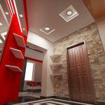 Окачен таван с вградено осветление в антрето