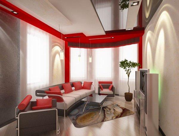 Червени акценти в дневната създават индивиалността на помещението