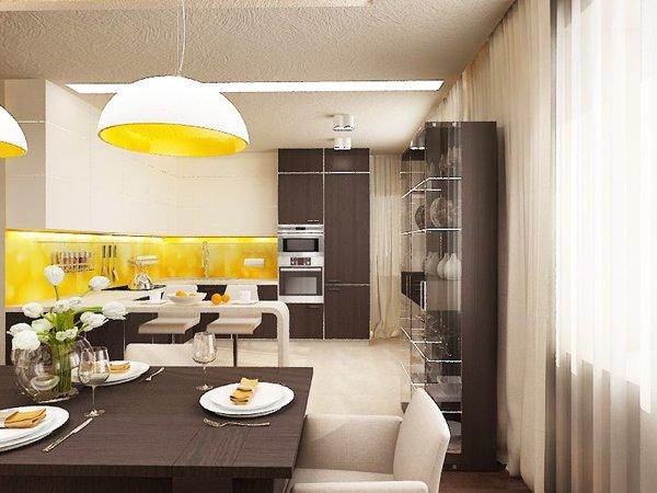 Слънчев нюанс внася жълтият гръб на кухнята