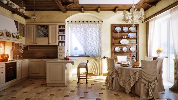 Кухня и трапезария в провинциален кънтри стил