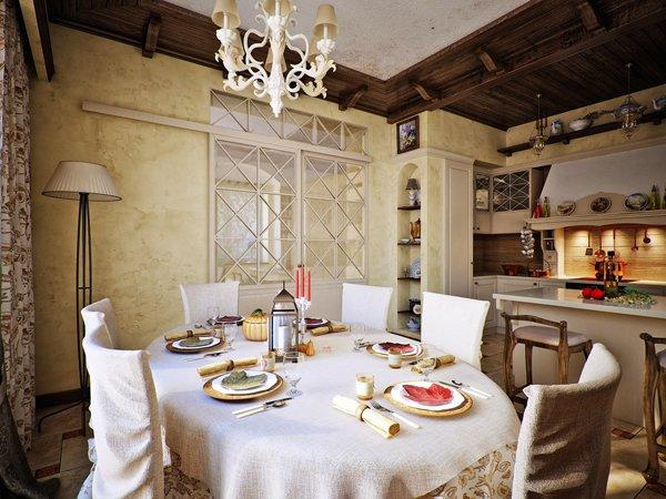 Кръгла маса и столове с текстилни калъфи
