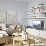 Естествено дърво, млечни цветове и олекотени конструкции в дневната