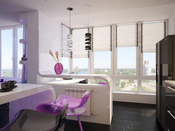 Столовете са с атрактивен дизайн и смел лилав нюанс