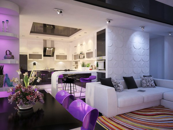 Декоративни XPS пана покриват една от стените в дневната