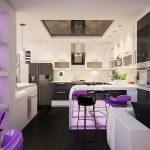 Лилавите акценти в цветовото решение са подкрепени и чрез LED осветлението в отделни кътове на помещението