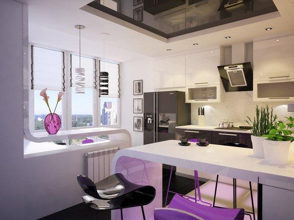 Бар-плот отделя кухнята от къта за отдих
