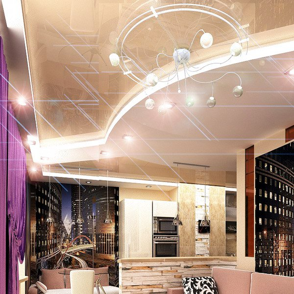 Сложни архитектурни форми на окачения таван са съчетани с фунционални осветителни тела