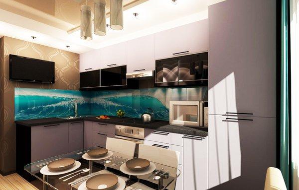 Кухня с гръб от принт-стъкло