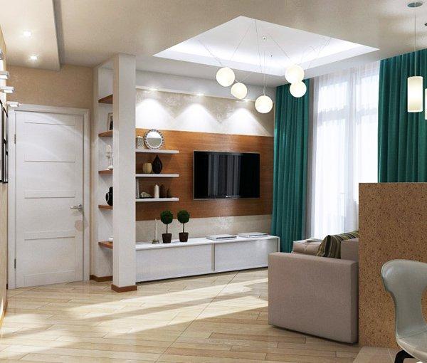 Обзавеждането е в пастелни меки тонове с акценти в цветовете на завесите, възглавничките и край къта с телевизора