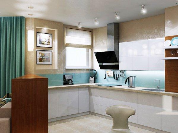 Бялата кухня е освежена със гръб в светъл нюанс на морско синьо