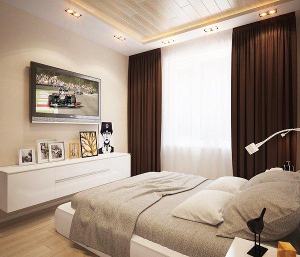 Спалнята е решена в пясъчно бежови нюанси и тъмно кафяви завеси за акцент