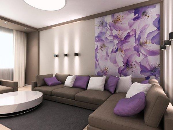 Декорация на стената в дневната с цветя