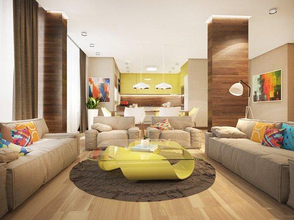 Интерор на апартамент в ярки цветове