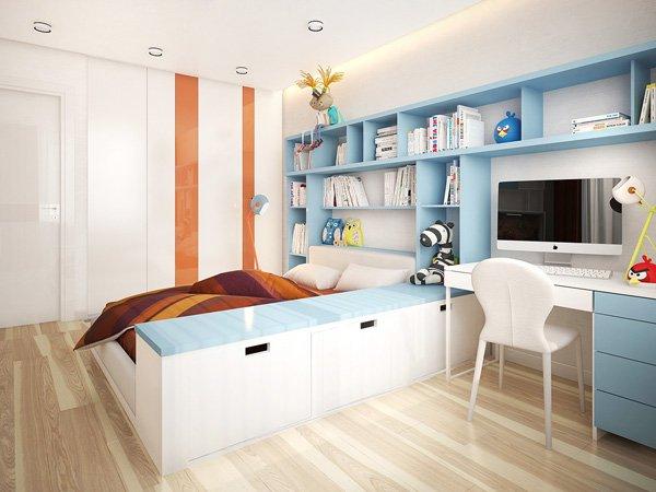 Нисък скрин разделя спалнята на функционални зони