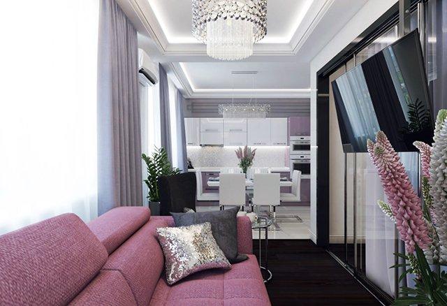 Телевизорът е окачен със специална поставка към тавана