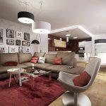 Интериорен дизайн на дневна зона в пастелни тонове и акценти в бордо