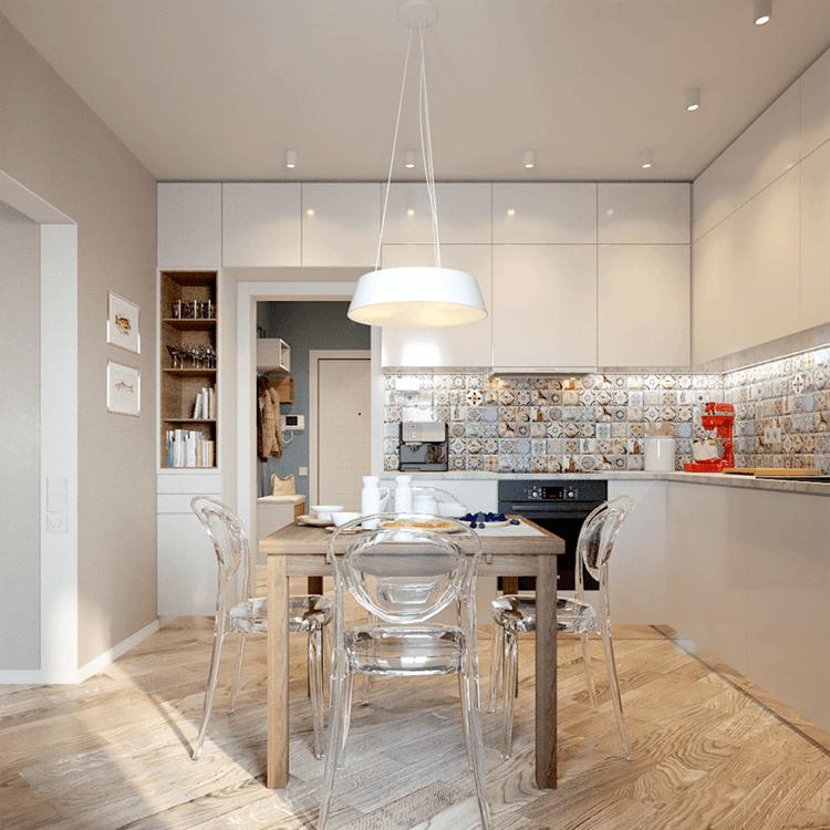 Интериор на апартамент с една спалня - кухня и кът за хранене