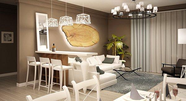 Интериор на апартамент с акценти от дърво